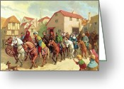 Canterbury Tales Greeting Cards - Chaucers Pilgrims Greeting Card by van der Syde