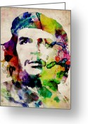 Stencil Greeting Cards - Che Guevara Urban Watercolor Greeting Card by Michael Tompsett