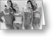 Hand On Hip Greeting Cards - Checkered Bathers Greeting Card by Archive Photos