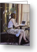 Tea Pastels Greeting Cards - Checking Her Emails Greeting Card by Paul Mitchell