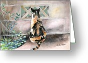 Calico Cat Greeting Cards - Checking Out the Neighbors Backyard Greeting Card by Arline Wagner