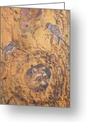 Birds Pyrography Greeting Cards - Checking Out the New Neighbors Greeting Card by Margaret G Calenda