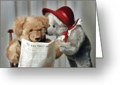 Toy Animals Greeting Cards - Checking Stock Quotes Greeting Card by Judi Quelland