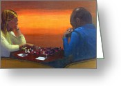 Checkmate Painting Greeting Cards - Checkmate Greeting Card by Peter Worsley