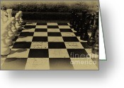 Old English Game Greeting Cards - Checkmate Greeting Card by Sara Messenger