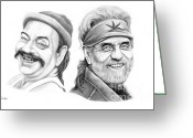 Celebrities Drawings Greeting Cards - Cheech and Chong Greeting Card by Murphy Elliott