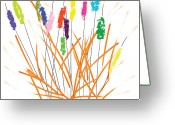 Whimsical Greeting Cards - Cheerful Cattails Greeting Card by Oiyee  At Oystudio