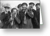 Cheering Greeting Cards - Cheering Sailors Greeting Card by Fox Photos