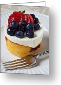 Desserts Greeting Cards - Cheese cream cake with fruit Greeting Card by Garry Gay