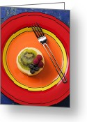 Kiwi Greeting Cards - Cheesecake on plate Greeting Card by Garry Gay