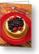 Cake Greeting Cards - Cheesecake on red plate Greeting Card by Garry Gay