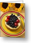 Sweetness Greeting Cards - Cheesecake with fruit Greeting Card by Garry Gay