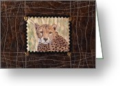 Fiber Art Greeting Cards - Cheetah Face Greeting Card by Patty Caldwell