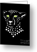 Felidae Digital Art Greeting Cards - Cheetah Inverted Greeting Card by Alycia Christine