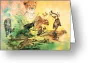 Wild Cat Greeting Cards - Cheetah Greeting Card by John Yato