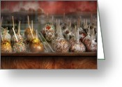 Chefs Greeting Cards - Chef - Caramel apples for sale  Greeting Card by Mike Savad
