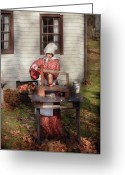 Xmas Greeting Cards - Chef - Coring Apples Greeting Card by Mike Savad