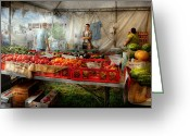 American Scenes Greeting Cards - Chef - Vegetable - Jersey Fresh Farmers Market Greeting Card by Mike Savad