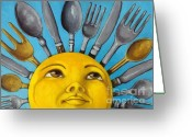 Sunday Greeting Cards - Chefs Delight - CBS Sunday Morning Sun Art  Greeting Card by Linda Apple