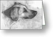 Graphite Drawings Greeting Cards - Chelsie Greeting Card by Monika Stattner