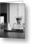 Kettle Greeting Cards - Chemex And Kettle Greeting Card by Copyright Ricky G. Brown 2011