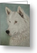 Wolves Pastel Greeting Cards - Chenoa Greeting Card by Teresa LeClerc