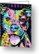 Dean Russo Art Painting Greeting Cards - Cherish The Pitbull Greeting Card by Dean Russo