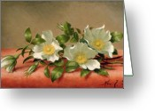 State Flowers Greeting Cards - Cherokee Roses Greeting Card by Martin Johnson Heade