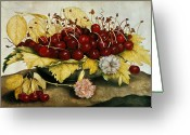 Pre-19thc Greeting Cards - Cherries and Carnations Greeting Card by Giovanna Garzoni
