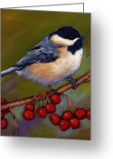 Blossoms Greeting Cards - Cherries and Chickadee Greeting Card by Johnathan Harris