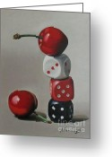 Dice Painting Greeting Cards - Cherries and dice Greeting Card by Alexander  Titorenkov
