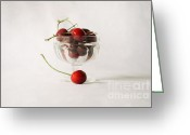 Fresh Picked Fruit Greeting Cards - Cherries Greeting Card by Anna Crowder
