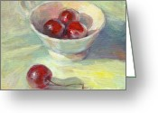 Cherry Drawings Greeting Cards - Cherries in a cup on a sunny day painting Greeting Card by Svetlana Novikova