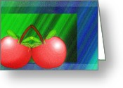 Cheery Greeting Cards - Cherries In Love Greeting Card by Andee Photography