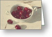 Vintage Chair Greeting Cards - Cherries Still Life  Greeting Card by Svetlana Novikova
