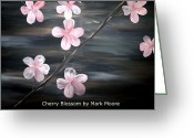 Silver Moonlight Greeting Cards - Cherry Blossom by Mark Moore Greeting Card by Mark Moore