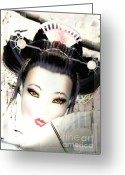 Geisha Greeting Cards - Cherry Blossom Geisha Greeting Card by Shanina Conway