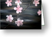 Silver Moonlight Greeting Cards - Cherry Blossom without artist signature Greeting Card by Mark Moore