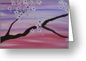 Purples Mixed Media Greeting Cards - Cherry Blossoms At Sunrise Greeting Card by Heather  Hubb
