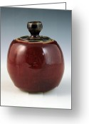 Thrown Ceramics Greeting Cards - Cherry Jar Greeting Card by Alejandro Sanchez
