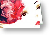 Violet Prints Greeting Cards - Cherry Lips Red Rose Girl Greeting Card by Jayne Logan