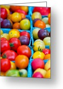 Green. Organic Greeting Cards - Cherry Tomatoes Greeting Card by Lauri Novak
