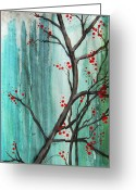 Stylized Art Greeting Cards - Cherry Tree Greeting Card by Carrie Jackson