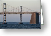 Point State Park Greeting Cards - Chesapeake Bay Bridge - Maryland Greeting Card by Brendan Reals
