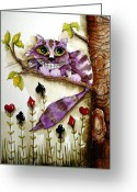 Alice In Wonderland Painting Greeting Cards - Cheshire Cat Greeting Card by Lucia Stewart