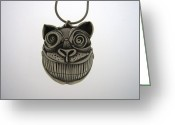 Silver Jewelry Greeting Cards - Cheshire Cat  Greeting Card by Michael Marx