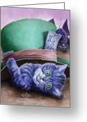 Hatter Greeting Cards - Cheshire Kitten Greeting Card by Rob Carlos