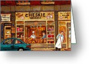 Schwartzs Hebrew Delicatessen Greeting Cards - Cheskies Hamishe Bakery Greeting Card by Carole Spandau