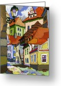 Buildings Greeting Cards - Chesky Krumlov Masna Street 1 Greeting Card by Yuriy  Shevchuk