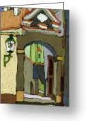 Streetscape Greeting Cards - Chesky Krumlov Old Street Latran  Greeting Card by Yuriy  Shevchuk